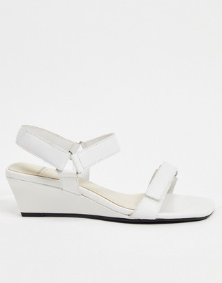 Vagabond Nellie leather strappy wedge sandals in white