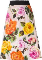 Dolce & Gabbana rose print A-line skirt - women - Silk/Spandex/Elastane/Viscose - 42