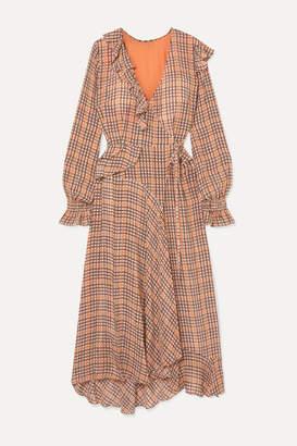 Preen Line Maieka Ruffled Paneled Printed Crepe De Chine Wrap Maxi Dress - Orange