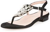 Taryn Rose Ibsen Crystal T-Strap Sandal, Soft Gold