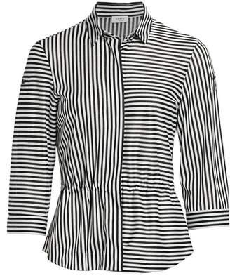 Akris Punto Striped Drawstring Back Blouse