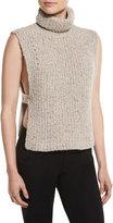 Isabel Marant Haway Sleeveless Side-Vent Turtleneck Sweater, Beige