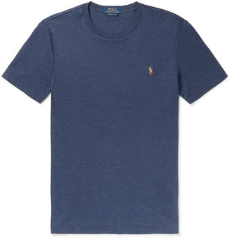 Polo Ralph Lauren Slim-Fit Logo-Embroidered Melange Pima Cotton-Jersey T-Shirt