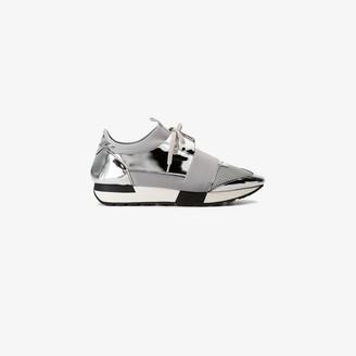 Balenciaga Silver Race Runner Leather Sneakers