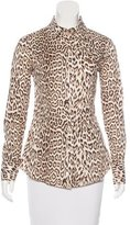 Just Cavalli Leopard Print Button-Up Top