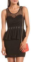 Charlotte Russe Mesh Top Peplum Body-Con Dress