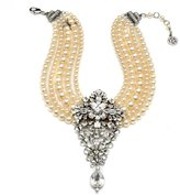 Ben-Amun Multi Strand Pearl Necklace with Crystal Pendant