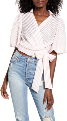 ENGLISH FACTORY Stripe Seersucker Wrap Blouse