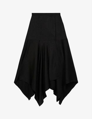 The Kooples Star-embellished silk-crepe wrap skirt