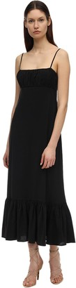 Ruffled Viscose Blend Long Dress