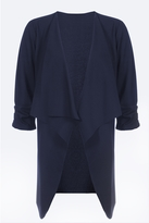 Quiz Navy Waterfall Front 3/4 Ruched Sleeve Jacket