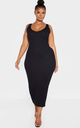 PrettyLittleThing Plus Black Knitted V Neck Midaxi Dress