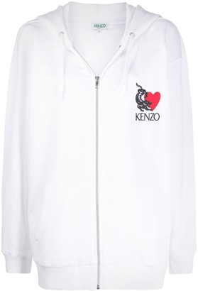 Kenzo Lucky Tiger embroidered zipped hoodie