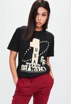 Missguided Black Champs USA Slogan Graphic Oversized T-Shirt, Black