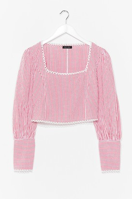 Nasty Gal Womens Square's Square Gingham Cropped Blouse - Red - XL, Red