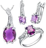 Babao Jewelry Jewelry Sets Babao Jewelry Special Purple 18K Platinum Plated Cubic Zirconia Crystals Pendant Necklace Earrings Set Ring Size 7