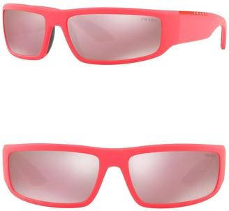 Prada Linea Rossa 65mm Rectangle Sunglasses
