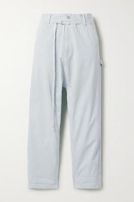 Denimist Carpenter Belted Striped Cotton-twill Pants - Light blue