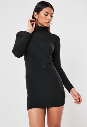 Missguided Tall Black Slinky High Neck Ruched Mini Dress