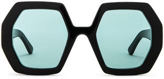 Gucci Runway Geometric Sunglasses in Shiny Black & Green   FWRD