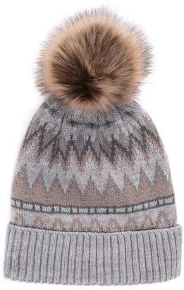 Muk Luks Women's Wool Blend Faux Fur Pom Beanie
