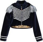 Nikolia Military Cotton Blend Velvet Crop Jacket