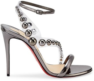 Christian Louboutin Corinetta Embellished PVC & Metallic Leather Sandals
