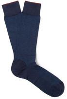 Ermenegildo Zegna Herringbone Cotton-blend Socks - Blue