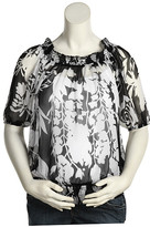Olian - Maternity Print Silk Top (Black/White)