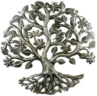 Global Crafts Tree of Life Dragonfly Recycled Metal Wall Art