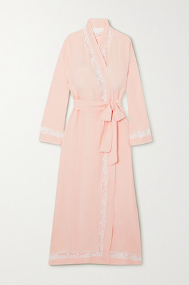 Loretta Caponi Lace-trimmed Silk-georgette Robe - Pink