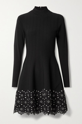 Lela Rose Crocheted Lace-trimmed Ribbed Stretch-knit Dress - Black