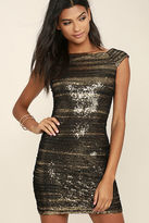 LuLu*s Feeling Alive Gold and Black Sequin Dress