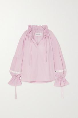 Marques Almeida Eyelet-embellished Organic Cotton-poplin Blouse - Pink