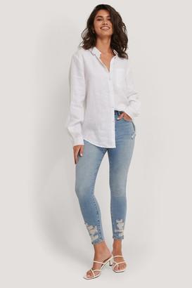 NA-KD Organic Cotton Ripped Hem Skinny Jeans