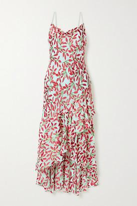 Alice + Olivia Ginger Asymmetric Ruffled Flocked Chiffon Dress