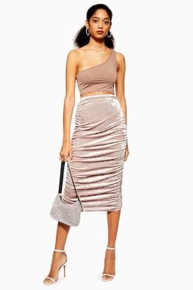 Topshop Womens Velvet Ruched Midi Skirt - Mink