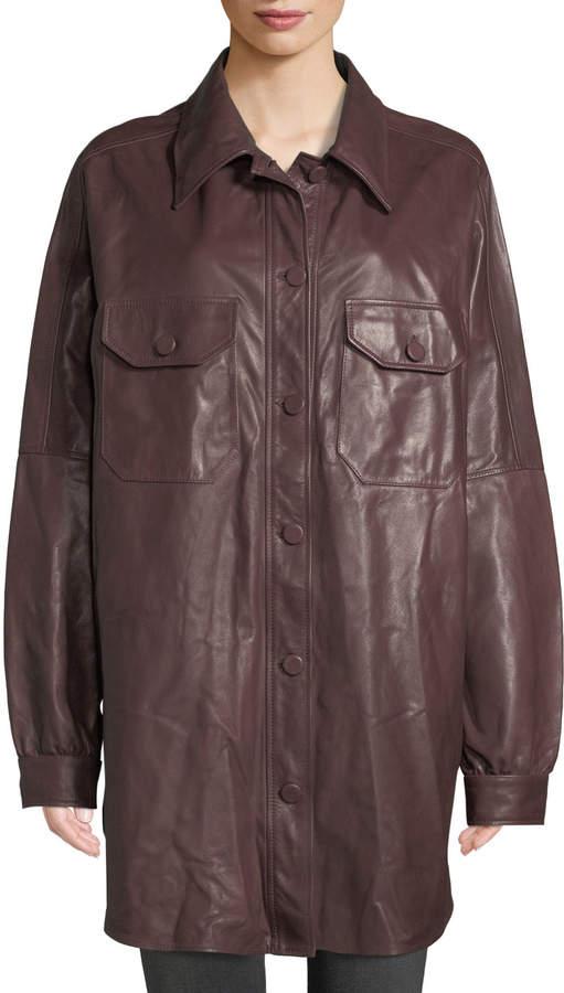 A.L.C. Mercier Button-Front Long-Sleeve Leather Jacket