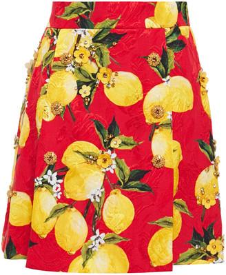Dolce & Gabbana Embellished Printed Cotton-blend Jacquard Mini Skirt