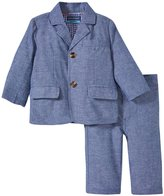Andy & Evan Tailored Linen Suit (Baby) - Blue 18-24 Months