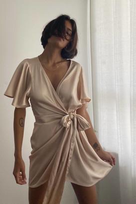Dress Forum Satin Mini Wrap Dress
