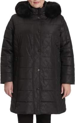 Northside Toni Plus Plus Faux Fur-Trim Jacquard Quilted Coat