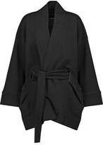 Lucas Hugh Belted Cotton-Blend Fleece Jacket
