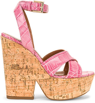Paris Texas Moc Croco Disco Cork Platform in Fuchsia | FWRD