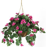 Asstd National Brand Nearly Natural Bougainvillea Silk Plant Hanging Basket
