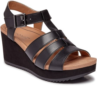 Vionic Leather Platform Wedges - Tawny II