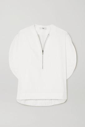 Tibi Gathered Cotton-poplin Blouse - White
