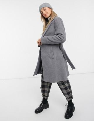New Look belted formal coat in grey