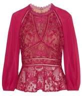 Marchesa Chiffon-Paneled Guipure Lace Top