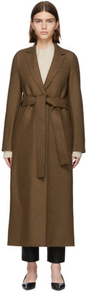 Harris Wharf London Brown Pressed Wool Belted Coat